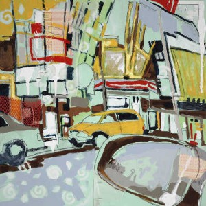 """Hollywood"" 24"" x 24"" mixed medium on paper 2008"