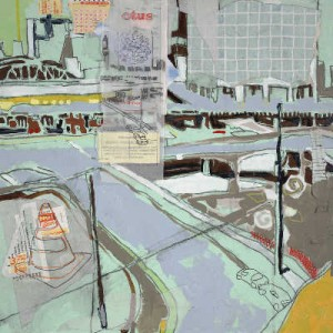 """the Gulch"" 24"" x 24"" mixed medium on paper 2008"