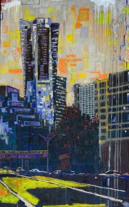 """Tower Place"" 96"" x 48"" acrylic on panel 2013 commission sold"