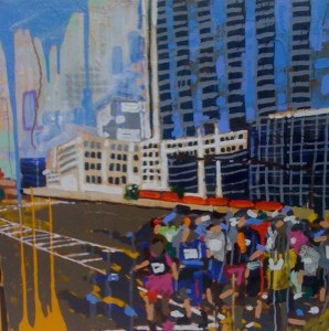 "Peachtree Road Rage 30"" x 30"" acrylic on panel 2013 commission sold"