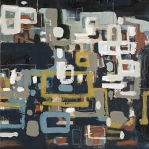 """City Studies""  12"" x 12"" acrylic on denim 2006"