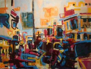 """Inner city View 2"" acrylics on canvas 48"" x 60"" est. 2006"
