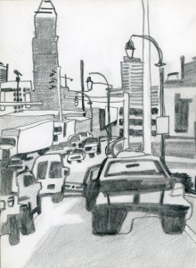 """Westside Lightpoles"" Graphite on Paper  5 1/2"" x 7 1/2"""