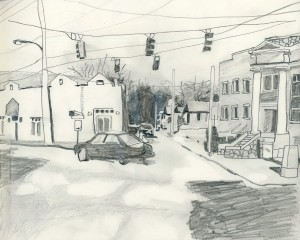 """Westview Corners"" Graphite on Paper 8"" x 10"""