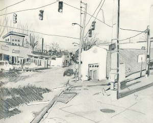 """Westview Corners 2"" Graphite on Paper 8"" x 10"""