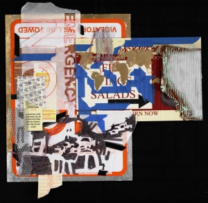 """No Parking"" 24"" x 28"" mixed medium, collage, found objects"