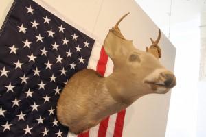 """Ralph"" Buck head, panty hose, American Flag"