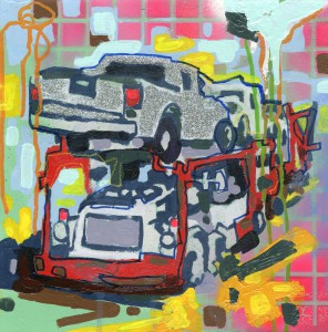 """ Jones brand new truck 001"" 12"" x 12"" Mixed Medium on panel"