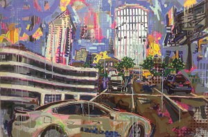"""Buckhead Parkinglot"" 48 ""x 60"" Mixed Medium on panel"