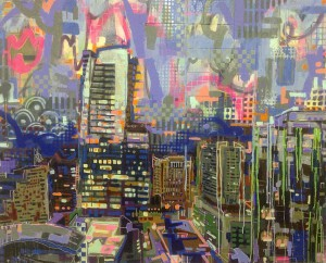 """Buckhead Skyline"" 48 ""x 60"" Mixed Medium on panel"